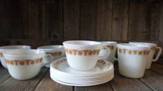Vintage Pyrex Butterfly Gold Cups and Mugs by EasyAsPieVintage