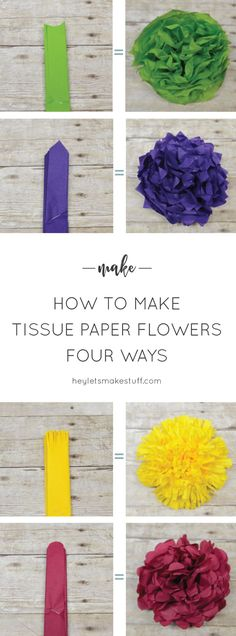 Learn how to make four different types of tissue paper flowers -- they can make a gorgeous wedding centerpiece without breaking the bank! Learn how to make four different types of tissue paper flowers -- they can make a gorgeous wedding Paper Flowers Wedding, Tissue Paper Flowers, Diy Flowers, Paper Poms, Flowers Decoration, Tissue Poms, Paper Dahlia, Origami Flowers, Mexican Paper Flowers