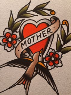 Happy mother's day to all the moms out there from Family Tattoos, Mom Tattoos, Body Art Tattoos, Tattoo Drawings, Hand Tattoos, Sleeve Tattoos, Traditional Heart Tattoos, Traditional Style Tattoo, Mom Heart Tattoo