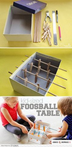 Would be cool to paint the sticks and clothes pins two different colors for this Mini Foosball Table For Kids - I love make your own toy projects! Diy Crafts For Kids, Projects For Kids, Fun Crafts, Craft Projects, Kids Diy, 5 Kids, Craft Kits, Craft Ideas, Diy Games