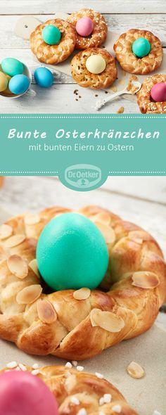 Bunte Osterkränzchen - Süßes Kleingebäck mit bunten Eiern zu Ostern #rezept #ei #ostern