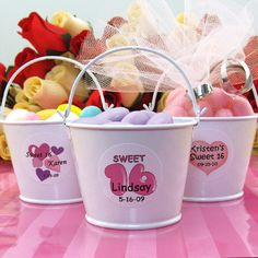 sweet+sixteen+favors | Personalized White Pail Sweet 16 Favors PER_6710_SWEET16-WP