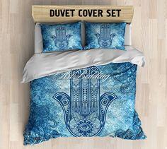 Bohemian bedding, Boho Hand of Fatima duvet cover set, Hamsa hand amulet bedding, Bohemian bedroom decor