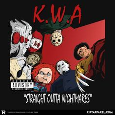 Please visit Killers With Attitude: Straight Outta Nightmares - They Make Horror-ble Music Together to read interesting posts. Horror Icons, Horror Films, Horror Art, Straight Outta Compton Album, Nightmare Movie, Hip Hop Art, Movie T Shirts, Nightmare On Elm Street, Iconic Movies