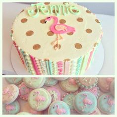 Vintage Flamingo Cake and matching mini bite sized cookies! HayleyCakes and Cookies -- Austin,TX
