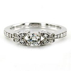 1.00CT Diamond Vintage Engagement Ring Antique Style Unique Milgrain Band 14K White Gold. $999.00, via Etsy.