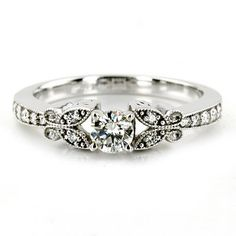 1.00CT Diamond Vintage Engagement Ring Antique Style Unique Milgrain Band 14K White Gold. $999.00, via Etsy.