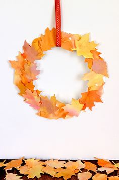 Kids Craft: Watercolor Fall Leaf Wreath - Happiness is Homemade