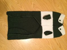 Medium-sized doggie sweater made with Michigan State colors (view of underside and collar)