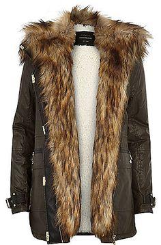 River Island Womens Khaki faux fur trim parka jacket