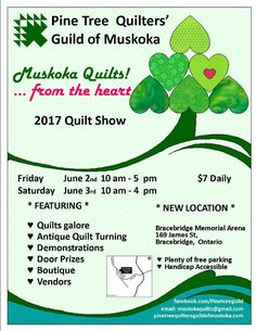 Poster   Pine Tree Quilters Guild of Muskoka Greater Toronto Area, Door Prizes, Pine Tree, Ontario, Road Trip, Quilts, Poster, Crafts, Manualidades
