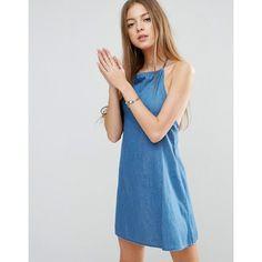 ASOS Denim Halter Neck Sundress in Mid Wash Blue (€29) ❤ liked on Polyvore featuring dresses, blue, blue denim dress, asos dresses, a line dress, halter sundress and blue sundress