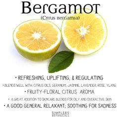 Bergamot Essential Oil (Citrus bergamia)  •Refreshing, uplifting,  regulating • Blends well with: citrus oils, geranium, jasmine, lavender, rose, ylang • Fruity-floral citrus aroma • A great addition to skincare blends for oily and overactive skin • A good general relaxant; soothing for sadness
