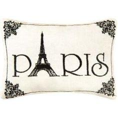"Amazon.com: ""Paris"" - Embroidered Accent ""Pillow"" (6"" x 8 1/2""): Home & Kitchen"