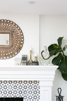 We could combine a bold fire place wooden mantel around the surround but would need to be careful with the proportions.