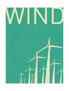 size: Art Print: Retro Wind Turbines Illustration by norph : Save Environment, Wind Power, Solar Power, Illustrations Posters, Wind Turbine, Illustration Art, How Are You Feeling, Art Prints, Retro