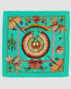 Beautiful color & pattern.  Hermes Brazil Scarf.