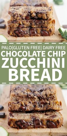 This paleo zucchini bread recipe is made with coconut flour, almond flour and shredded zucchini, which makes it a healthy baking must for the summer! It's easy, super moist and filled with chocolate… Paleo Zucchini Bread, Chocolate Chip Zucchini Bread, Dairy Free Chocolate Chips, Chocolate Bars, Paleo Bread, Recipe Zucchini, Shredded Zucchini Recipes, Gluten Free Zucchini Recipes, Almond Chocolate