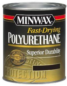 3 coats of Minwax Fast-Drying Polyurethane Superior Durability, Clear Semi-Gloss (affiliate link) to our stair treads using a Foam Brush.  Be sure to let the poly dry completely in-between coats.