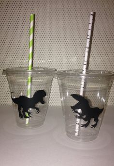 12 Jurassic World Party Cups with Straw by BeesandQuotes on Etsy