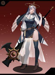 ArtStation - 修女, Ao Ye Female Character Concept, Fantasy Character Design, Character Design Inspiration, Character Art, Fantasy Female Warrior, Fantasy Armor, Dark Fantasy Art, Fantasy Girl, Manga Girl