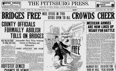 On March 16, 1911, the county commissioners officially abolished tolls on nine bridges, including the the 6th, 7th, 9th, 16th & 30th street bridges in Pittsburgh, as well as the 5th Avenue Bridge and three others in McKeesport.