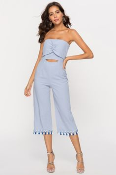 Women Blue Jumpsuit Strapless Cut Out Twisted Wide Leg Jumpsuit Bodycon Jumpsuit, Jumpsuit Style, Online Shopping Clothes, Online Clothes, White Off Shoulder Dress, Front Braids, Blue Jumpsuits, Daily Wear, Unique Fashion