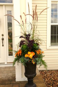 Fall Planter using a variety of kale, mums, grasses, asparagus fern, and miniature pumpkins and gourds.