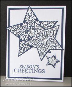 Season's Greetings - Bright & Beautiful, Stars Framelits, embossing  (Sharon Cline - inkup.us)