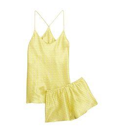 Olivia Von Halle Bella Cara Printed Silk-Satin Pajama Set ($300) in Yellow