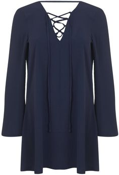 Pin for Later: All Laced Up: Autumn's Alternative to the Plunging Neckline Miss Selfridge Long Sleeve Navy Lace Up Tunic Miss Selfridge Long Sleeve Navy Lace Up Tunic (£35)
