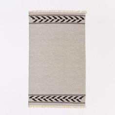 $109 3x5 Steven Alan Arrow Border Cotton Kilim Rug - Feather Gray | west elm