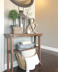 little side table decor for entryway by kitchen