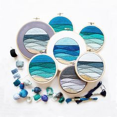 Re-Released + Available through November! JUNE SEASCAPE - PDF Embroidery Pattern - Seascape Embroidery Pattern by Sarah K. Benning - #skbdiy