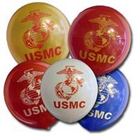For any USMC celebration or event, balloons are expertly screened with a vibrant print. The Marine Shop: USMC party supplies are our specialty! Usmc Birthday, Marine Corps Birthday, Us Marine Corps, Military Retirement Parties, Military Party, Marine Graduation, Marines Boot Camp, Deployment Party, Military Crafts