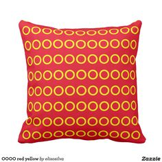 OOOO red yellow Cojín Decorativo