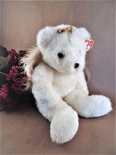 292b8233602 Angel Bear TY Classic Divine Beanie Baby White Stuffed Plush 14