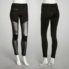 Sunrise Women's Ponti Mesh Bottom And Zipper Legging: Black/Large Buy Them Now for only $10, or find more at www.uBid.com!
