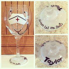 Personalized Nurse Wine glass https://www.etsy.com/shop/Buttonwoodboutique