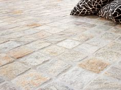 Silex Cobblestone Pavers & Flooring for Driveways by Eco Outdoor Porch Flooring, Granite Flooring, Outdoor Flooring, Countertop, Unique Flooring, Flooring Options, Cobblestone Paving, Cottage Shutters, Craftsman Farmhouse