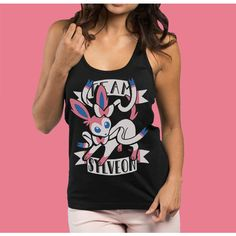 Team Sylveon Women's Tank Top Pokemon Tank Top Sylveon Shirt... ($21) ❤ liked on Polyvore featuring tops, black, tanks, women's clothing, print tank top, racer back tank, racer back shirt, patterned tops and pattern tank top