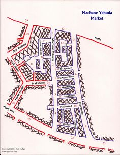 A map of every stand in Jerusalem's Machane Yehuda Market. Accompanying it is the list that is both comprehensive and will be constantly kept up to date.