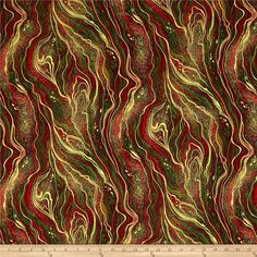 Timeless Treasures Comfort & Joy Metallic Swirl Holiday from @fabricdotcom  Designed by Chong-A Hwang for Timeless Treasures, this cotton print fabric is perfect for quilting, apparel and home decor accents. Colors include metallic gold, red and green.