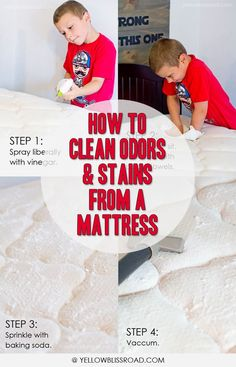 How to Clean Odors and Stains from a Mattress. Click the image for complete directions for this super easy stain and odor removal method!