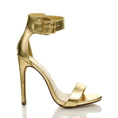 Simple yet elegant high heel dress sandal for prom, dinner or any classy evening events. They feature an open toe, a slight stitch trim, an elegant sculpted look, a gold buckle adjustable ankle strap,