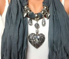 Grey Jewelry scarf  solid color grey jewelry scarf por BienBijou, $27.00