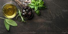 Greek black olives & fresh herbs. Food & Drink Photos