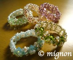 ring band of Swarovski beads and seed bead