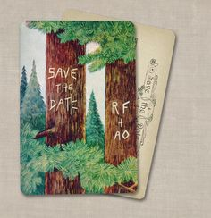 Tree Save the Dates Vintage Woodland Forest Theme from GoGoSnap on Etsy Forest Theme, Woodland Forest, Old Fashioned Wedding, Rustic Wedding Save The Dates, Vintage Wedding Invitations, Wedding Stationery, Wedding Mood Board, Wedding Programs, Save The Date Cards