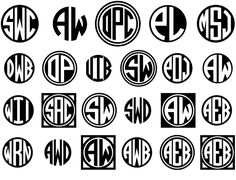 The set of 4 Circle Monograms fonts let you create custom 2- and 3-letter monograms, against a black or white background, with a choice of decorative frames.